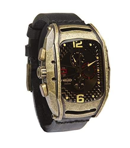 Welder Herren ArmbanduhrChronograph Analog Quarzuhrwerk Lederband braun K42-800