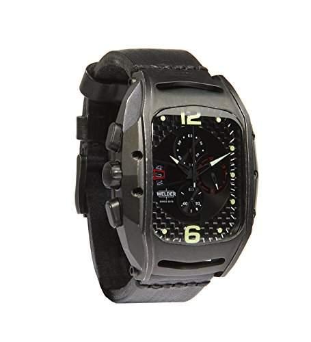 Welder Herren ArmbanduhrChronograph Analog Quarzuhrwerk schwarzes Zifferblatt braunes Lederband K42-801