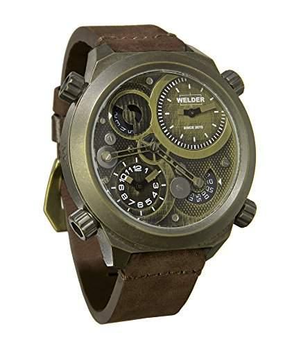 Welder Herren Armbanduhr Analog Quarzuhrwerk Lederband braun K50-400