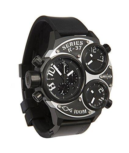 Welder K37 6502 Herren Armbanduhr Chronograf Silikonband und Zifferblatt in Schwarz
