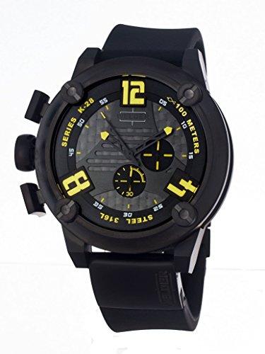 Welder Herren Quarzuhr mit schwarzem Zifferblatt Chronograph Anzeige und schwarz Rubber Strap K28 7104