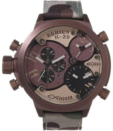 Welder by U-Boat K29 Triple Time Zone Chronograph Brown Steel Mens Sport Watch Camouflage Strap K29-8005