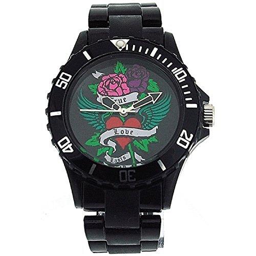Pink Cookie Damen Maedchen analoge schwarze PU Armbanduhr mit schwarzem Zifferblatt PCL0027