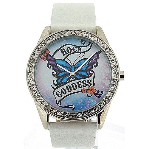 Pink Cookie Damen Maedchen analoge weisse PU Armbanduhr mit weissem Zifferblatt PCL 0013