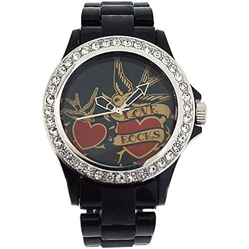 Pink Cookie Damen Maedchen analoge schwarze PU Armbanduhr mit schwarzem Zifferblatt PCL0025
