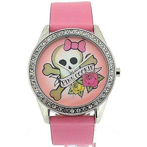 Pink Cookie Damen Maedchen analoge rosa PU Armbanduhr mit rosa Zifferblatt PCL 0011