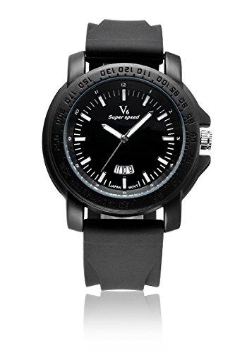 V6 neue Ankunfts Luxus Uhr Mode Quarz Armbanduhr Super Soft Silikon Band Schwarz