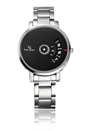 V6 neuen Ankunfts M nner Military Watch Mode Mann Quarz Armbanduhr Edelstahl Band Schwarz