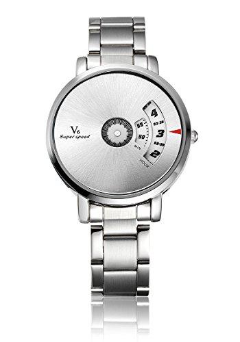 V6 neuen Ankunfts M nner Military Watch Mode Mann Quarz Armbanduhr Edelstahl Band Wei