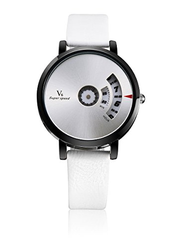 V6 neue Ankunfts Luxus Uhr Mode Quarz Armbanduhr echtes Leder Band Weisse