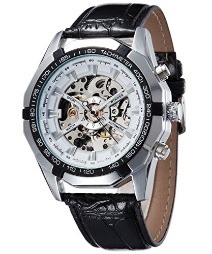 Vintage Round Skeleton Dial leather Band Self Wind Up Mens Mechanical Wrist Watch White face