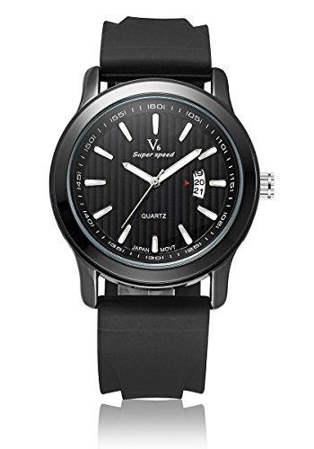 V6 neue Ankunfts Luxus Uhr Mode Quarz Armbanduhr Silikon Band Schwarz