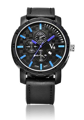 V6 neue Ankunfts Sport Uhr Luxus echtes Leder Band Blau