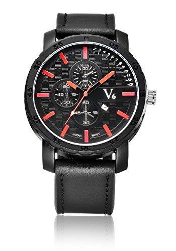 V6 neue Ankunfts Sport Uhr Luxus Quarz Armbanduhr echtes Leder Band Rot