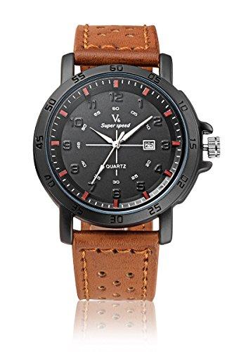V6 neue Ankunfts Sport Uhr Mode Quarz Armbanduhr echtes Leder Band orange