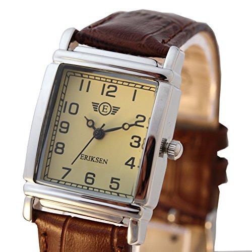 Damen Schmuck Armbanduhr rechteckig Lederband LS