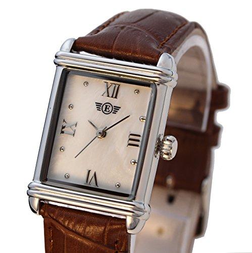 Damen Armbanduhr rechteckiges Lederband PS