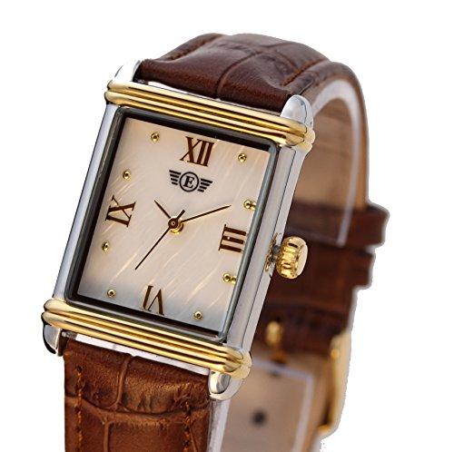Eriksen Damen Classic rechteckig QUARZ Kleid Uhr mit Analog Anzeige und braunem Lederband mit Mutter von Pearl Zifferblatt TWOTONE PTT