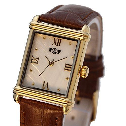 Eriksen Damen Classic rechteckig QUARZ Kleid Uhr mit Analog Anzeige und braunem Lederband mit Mother of Pearl Zifferblatt vergoldet PG