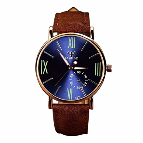 Fortan neue Herren Noctilucent Uhr Leder Glas Quarz analoge Uhren Blau