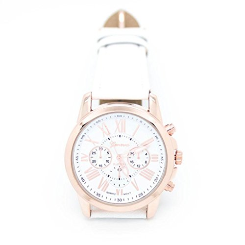 Fortan 2016 Mode roemischen Ziffern Faux der neuen Frauen Leder Armbanduhr Weiss