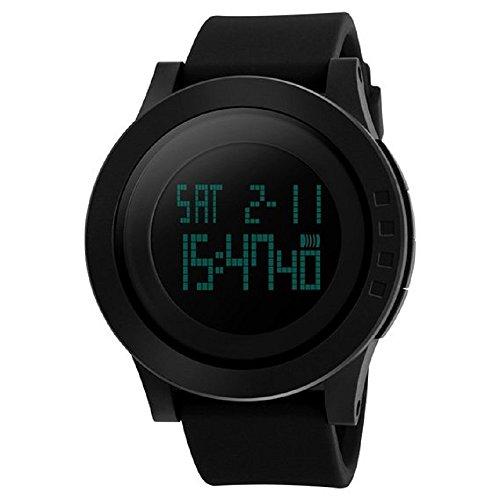 megadream Herren Militaer Sport Uhr mit Gummi Armband Big Face Armbanduhr 50 m Wasserdicht LCD Digital Sport Armband schwarz