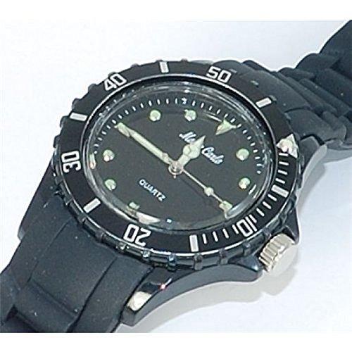 Monte Carlo Uhr mit schwarzem Gummiarband Kunststoffluenette