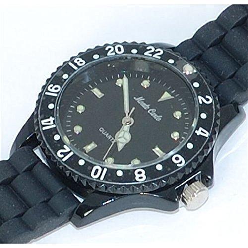 Monte Carlo Uhr mit schwarzem Gummiarmband Metallluenette