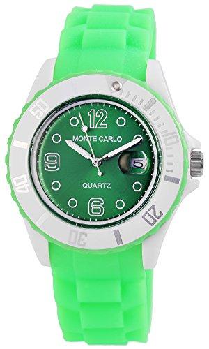 Monte Carlo Sportarmbanduhren Bunte Sportuhr in verschiedene Farben und groessen fuer Damen und Herren unisex Silikon Armbanduhr gruen
