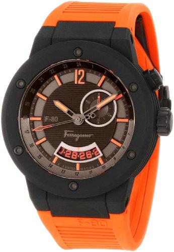 Salvatore Ferragamo Herren f55lgq6876 SR62 F 80 Karbonfaser Schwarz und Orange Gummi Armbanduhr
