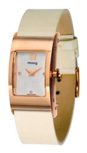 Moog Damen-Armbanduhr Analog Leder weiss M41661-005