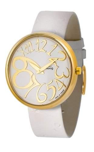 Moog Damen-Armbanduhr Analog Leder weiss M41671-008