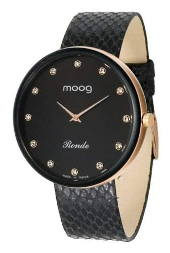 Moog Damen-Armbanduhr Analog Leder schwarz M41671-115