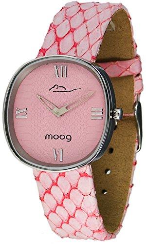Moog Paris Chic Silber aus Edelstahl Armband Rosa aus Echtes Schlangenleder in Frankreich hergestellt M41121 001