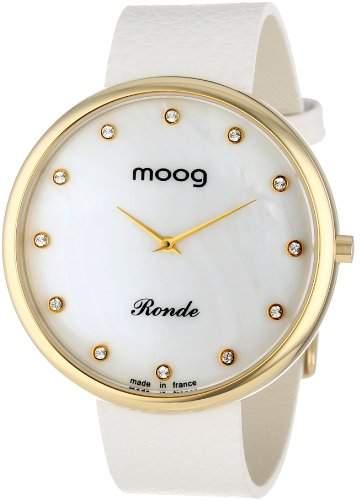 Moog Damen-Armbanduhr Analog Leder weiss M41671-118