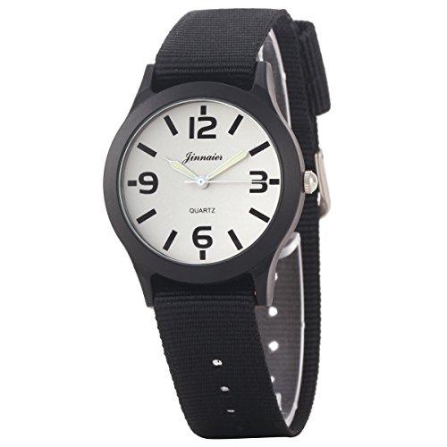 Uniqueen Mode Armbanduhr B3 103 Analog Quarzuhr Segeltuch weiss