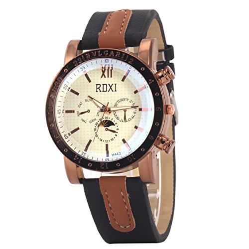 Uniqueen Mode Armbanduhr B59 H433 Chronograph Quarzuhr Leder braun