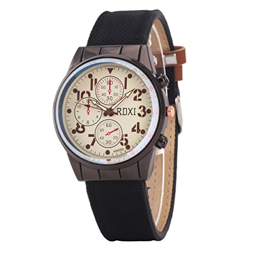 Uniqueen Mode Armbanduhr B59 HW050 Chronograph Quarzuhr Leder Oberflaeche weiss Armband schwarz