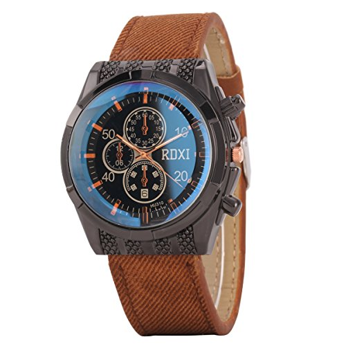 Uniqueen Mode Armbanduhr B59 HU310 Chronograph Quarzuhr Leder Oberflaeche schwarz Armband braun