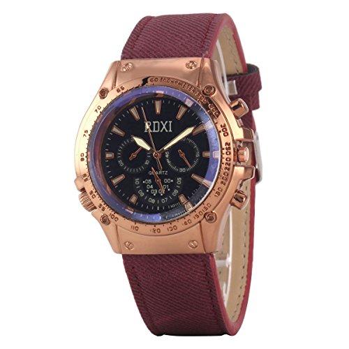 Uniqueen Mode Armbanduhr B59 HU311 Chronograph Quarzuhr Leder Oberflaeche schwarz Armband rot