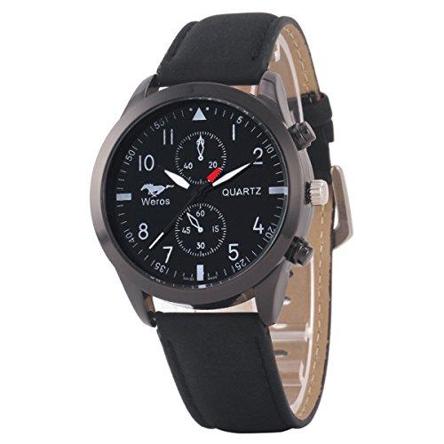 Uniqueen Mode Armbanduhr B3 WR Chronograph Quarzuhr Leder Oberflaeche schwarz Armband schwarz