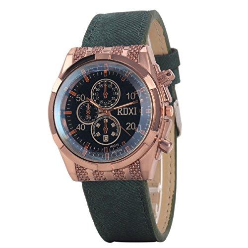 Uniqueen Mode Armbanduhr B59 HU310 Chronograph Quarzuhr Leder Oberflaeche schwarz Armband gruen