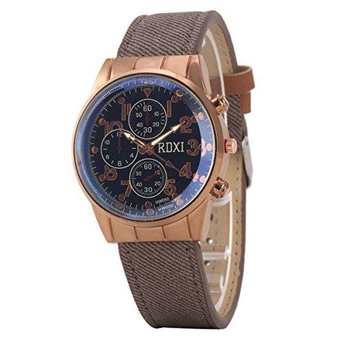 Uniqueen Mode Armbanduhr B59 HW050 Chronograph Quarzuhr Leder Oberflaeche schwarz Armband graun