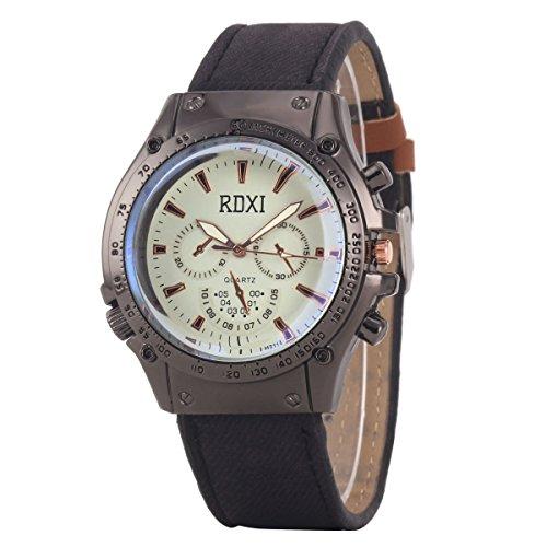 Uniqueen Mode Armbanduhr B59 HU311 Chronograph Quarzuhr Leder Oberflaeche weiss Armband schwarz