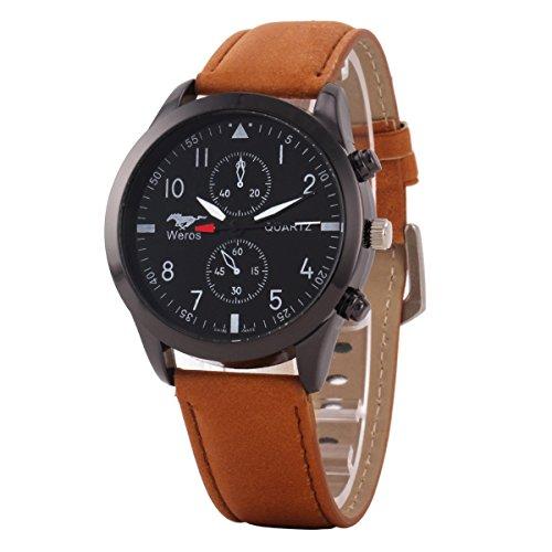 Uniqueen Mode Armbanduhr B3 WR Chronograph Quarzuhr Leder Oberflaeche schwarz Armband braun
