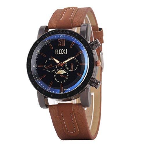 Uniqueen Mode Armbanduhr B59 H433 Chronograph Quarzuhr Leder schwarz