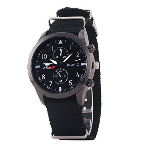 Uniqueen Mode Armbanduhr B3 WR Chronograph Quarzuhr Segeltuch Oberflaeche schwarz Armband schwarz