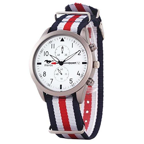 Uniqueen Mode Armbanduhr B3 WR Chronograph Quarzuhr Segeltuch Oberflaeche weiss Armband bunt