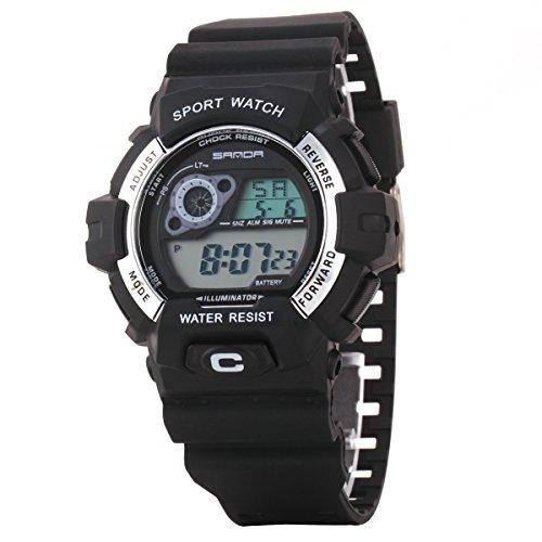 Uniqueen Armbanduhr Multifunktional LED Digitaluhr Klassisch Sportuhr Bergsteigen Silikon Wasserdicht B56 310 schwarz silber