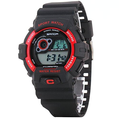 Uniqueen Armbanduhr Multifunktional LED Digitaluhr Klassisch Sportuhr Bergsteigen Silikon Wasserdicht B56 310 schwarz rot